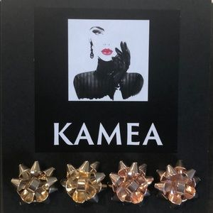 Kameakay Christmas bows gold and rose gold earring